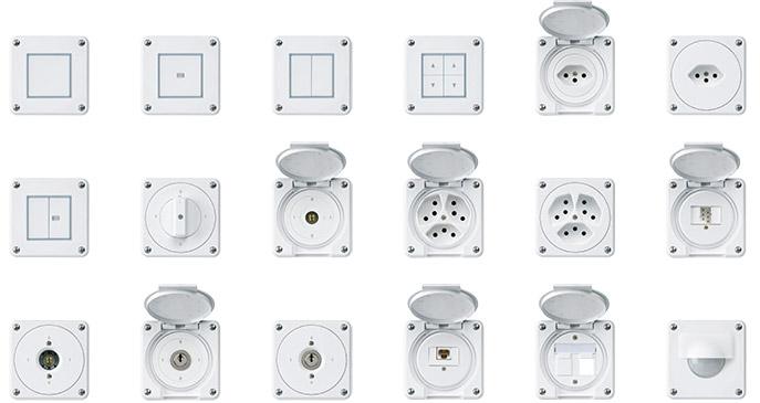 Hager Robusto NAP Steckdosen, Schalter, Apparate, IP65, T13, T23, T15, T25, Elektromaterial, EM, Winterhalter Fenner AG, W-F