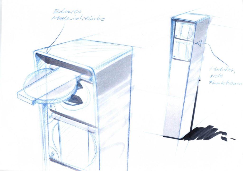 Design Steckdosensäule mit Feller NEVO NAP, Hager Robusto NAP, Anschlussäule, Energiesäule, Elektromaterial, Woertz
